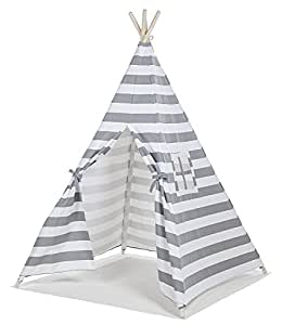Small boy gray stripes indian full canvas kids play tents for children indoor