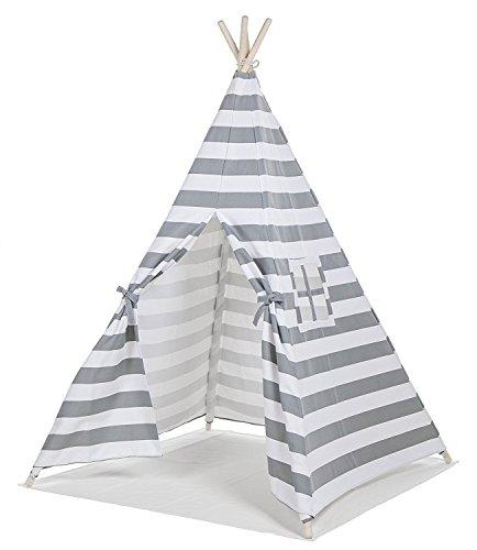 Pequeño niño de rayas grises indio lona completa tiendas de campaña de niños para niños de interior Añadir alfombrillas