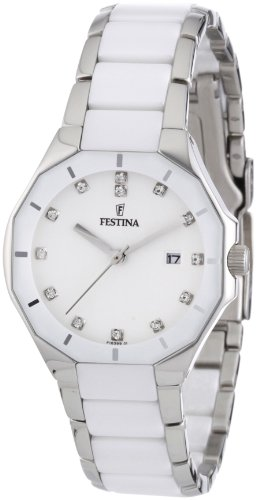 Festina Ladies Quartz Watch with White Dial Analogue Display and Multicolour Stainless Steel Bracelet F16399/1