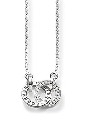 Thomas Sabo Damen-Kette mit Anhänger 925 Silber Zirkonia weiß Brillantschliff 45 cm - SCKE150159