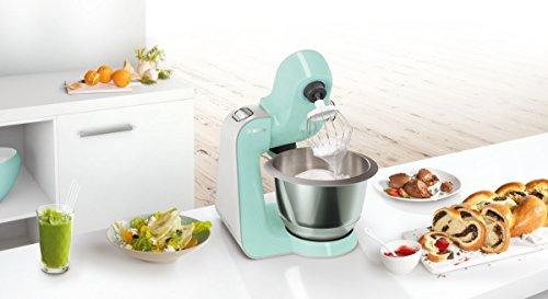 Bosch MUM58020 Food Processor CreationLine, 1000 W, recipiente de mezcla de acero inoxidable de 3.9 l, sistema de mezcla 3D, 7 etapas de conmutación, plata (menta turquesa / plata)