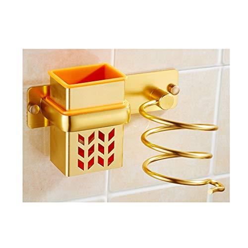 M-JJZX Aluminium Haartrockner Halter Wandhalterung Spiral Frühling Haartrockner Hängen Rack Mit Haarglätter Halter (Farbe : Gold) (Hängen Haartrockner)