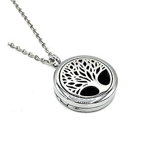 Abverkauf! Medaillon Halskette TREE OF LIFE Edelstahl Baum des Lebens Weltenbaum Diffuser Aromatherapie für Aromaöl 1x farblich zufälliges Filz-Pad Kette mit Anhänger Damen
