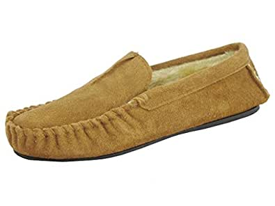 Mens Dunlop Moccasin Slippers Premium Collection 'Romeo' Suede Leather Fur Lined