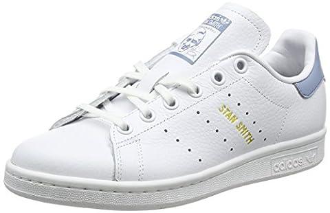 adidas Stan Smith J, Sneakers Basses Mixte Enfant, Blanc Cassé (Ftwr White/Ftwr White/Tactile Blue S17), 38 EU