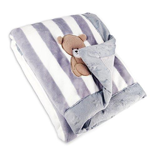 Zebrum Babydecke, Flanell Doppelt Kuschlige Decke, Weiche für Babybett/ Kinderwagen, Neugeborenes Geschenk (Grau)