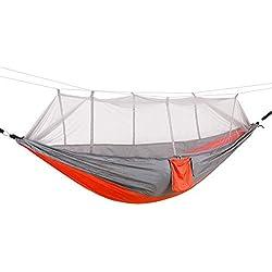 Hamac de Camping avec Moustiquaire 200kg Capacité de Charge, Parachute Double Hamac en Tissu Portable pour Voyage Camping Hiking Randonnée Gris Orange M