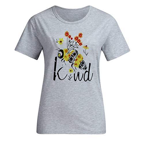 routinfly Damen Freizeitoberteil,Frauen Baggy Kaftan Kurzärmliges T-Shirt mit Buchstaben-Bienendruck Kurzarm Lässige Kleidung Komfort Brief Drucken Tops T-Shirt Lose Bluse -