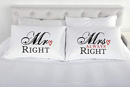 Mr destro mrs always right federa paio di coppie regalo cuscino federe romantico biancheria da letto regalo san valentino matrimonio fidanzamento
