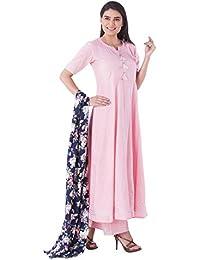 KHUSHAL K Women's Cotton Straight Kurta with Palazzo Pant and Floral Print Dupatta Set