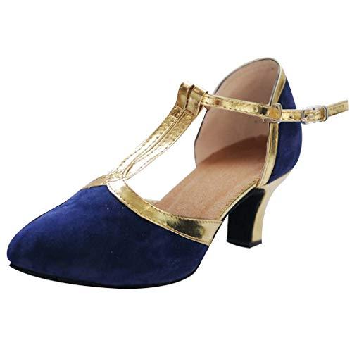 EUCoo Frauen Tanzschuhe Erwachsene Latin Dance Schuhe Gold Schuhe Seite Baotou Mittlere Ferse (3-5Cm) Weichen Unteren Sandalen(Blau, 41)
