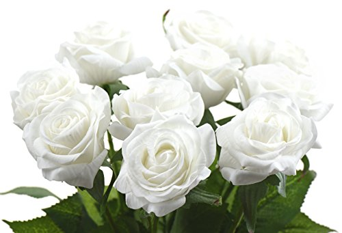 Fiveseasonstuff® 10 steli tocco realistico seta rose 'petali sentire e guardare come rose freschi' di fiore artificiale bouquet, ideale per matrimoni, sposa, partito, casa, studio décor fai da te (#1 bianco)