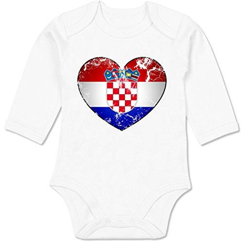 Europameisterschaft 2020 - Baby - Kroatien Vintage Herz - 3-6 Monate - Weiß - BZ30 - Baby Body Langarm ()