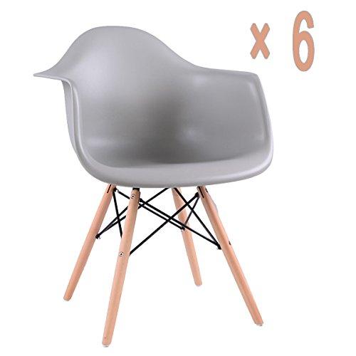 EGGREE Lot von 6 Esszimmerstuhl, Retro Stuhl Beistelltisch mit solide Buchenholz Bein - Grau (Retro Beistelltisch)