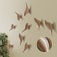 Baffect Multi-Purpose Resin Wall Mount Hook Hanger Holder in Birds Design for Coat Hat Towel Bag (3pack-Wood)