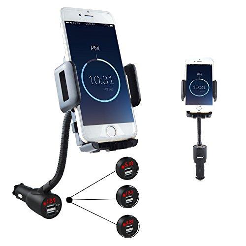SOAIY 3 in 1 Supporto d'Auto per Cellulare con Doppia USB e Braccio Regolabile, Supporto per IPhone, Samsung e Maggior Tipo di Smartphone