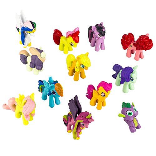 (Little Pony Kuchen, Topper (12Stück) Scherbenwelt: Geburtstag Party Dekoration für Kinder, Pony Figuren für Jungen und Mädchen, bunt, Pferd Spielzeug für Cupcakes, Cute Pony Ornaments)