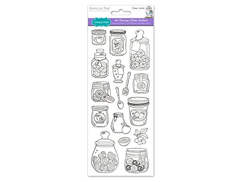 Living in Farbe Papier Handwerk Aufkleber Kunst Therapie mit Glitzer, 10,2x 22,9cm, Farbe Ihrer eigenen Aufkleber, Mason Jar (Jars Mason Farbe)