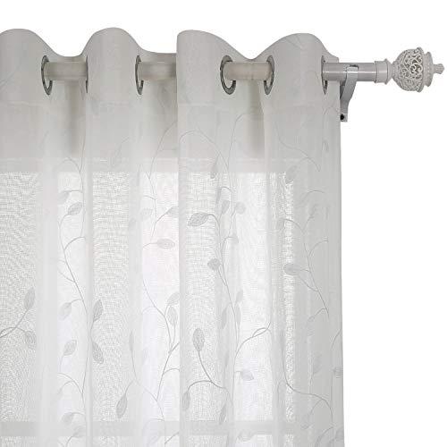 Deconovo Voile Vorhänge mit Ösen Vorhänge Durchsichtig Gardinenschals mit Stickerei 175x140 cm Creme Blatt 2er Set