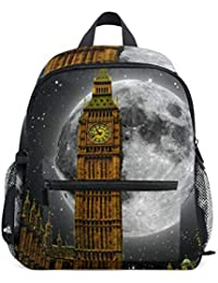 FAJRO Big Ben London Moon Back Pattern - Mochila Escolar para niña
