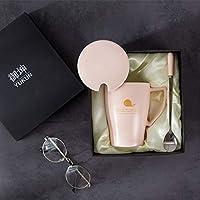 njhswlti Taza de cerámica Creativa con Tapa Cuchara de Gran Capacidad Taza de café de Oficina Simple para Hombres y Mujeres Taza de Leche Continental, ...