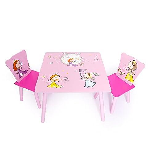 Homestyle4u 1113 Kindersitzgruppe Prinzessin 3-teiliges Set 1 Kindertisch + 2 Kinderstühle aus Holz in Pink Rosa 3 tlg. Sitzgruppe Kinderzimmer 1 Tisch + 2 Stühle - Kindermöbel für Jungen & Mädchen