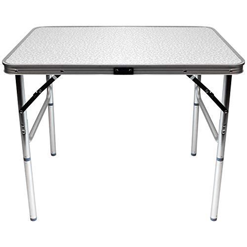 Wohaga® Aluminium Klapptisch 'Amsterdam' 75x55xH60cm, tragbar faltbar und leicht, Campingtisch Beistelltisch Falttisch