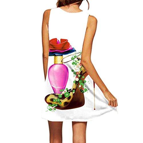 MRULIC Damen Lovely Mini Floral Printing A-Linie Kleider Beach Dress Vintage Boho Frauen Sommer Ärmelloses Party Kleide (EU-42/CN-L, J-Weiß) - Rüschen Tiefem Ausschnitt-kleid