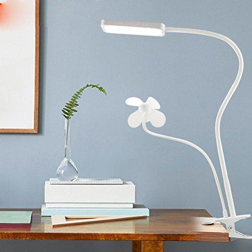Light Kommen Sie auf die Fan-tischlampe LED-Clip Licht Lampe zu Lernen, Augenschutz Schreibtisch Lernen Leselicht Fan Kleine Ordner Licht,Weiß (Ordner-fan)