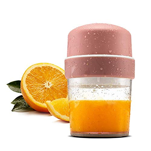TOPQSC Blender Bottle Manuell mini compact 450 ml Juicer Cup portable für Reise, Sport, Büro, Dienstreise Smoothie Maker Mixer leicht Obst Handmixer leise klein Entsafter (BPA Frei, Rosa) - Manuelle Portable Mixer