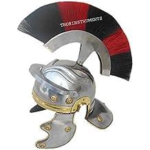 Thor instrumentos. Co Centurian romano casco Medieval Knight Armor disfraz penacho de color rojo y negro, acabado cromado
