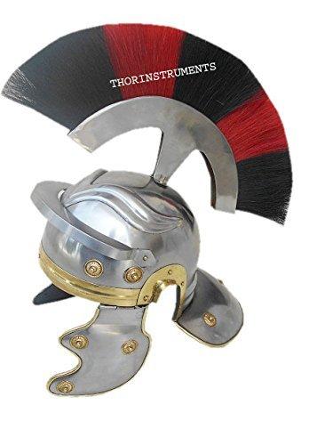 Thor Instrumente. CO römischen Centurian Helm Mittelalter Ritter Rüstung Kostüm rot & schwarz Plume chrom Finish