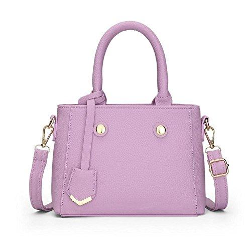 LDMB Damen-handtaschen Frauen PU-lederner OL Pendler-Schulter-Kurier-Handtasche Normallack-leichte Crossbody Beutel-justierbare abnehmbare Einkaufstasche Purple