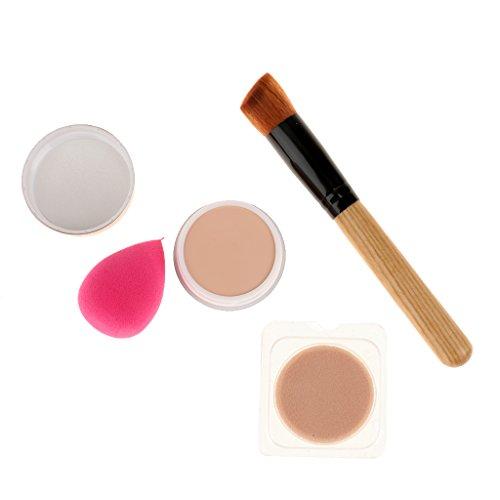 Correcteur de Crème avec Pinceau de Maquillage de Poudre et Éponge de Poudre