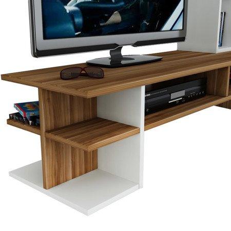 DUO Wohnwand – Weiß / Nussbaum – TV Board / Lowboard in modernem Design - 3
