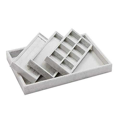 GossipBoy-Premium-Extrable-Gran-Capacidad-Bandeja-de-Joyera-de-Terciopelo-Display-para-Cajn-Armario-Escritorio-Pendiente-Anillo-Collar-Organizador-de-Almacenamiento-3-Compartimentos