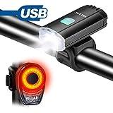 VELLAA Bicicleta Luces Set, Bicicleta USB Recargable Faro(Blanco) y luz Trasera(Rojo) Conjunto, LED Water-resisitant Exterior, lámpara Linterna Ciclismo Impermeable Luces Establece con Cable USB