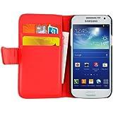 JAMMYLIZARD | Wallet Ledertasche Hülle für Samsung Galaxy S4 Mini, ROT