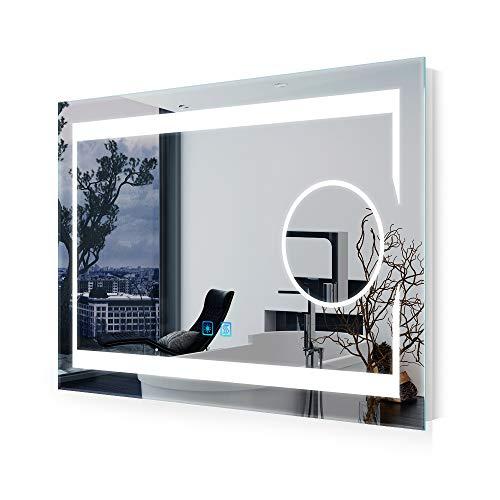 Quavikey LED Badezimmerspiegel mit 3-Fach Vergrößerung beleuchtung Badezimmer Wandspiegel Schminkspiegel Badspiegel mit Antibeschlage Touchschalter 75 x 50 cm