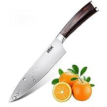 Deik – Profi Küchenmesser   20cm Kochmesser Professionell   Gemüsemesser   deutscher Edelstahl   Extra Scharfe Messerklinge   Ergonomischer Holz-Griff   Asiatische Art