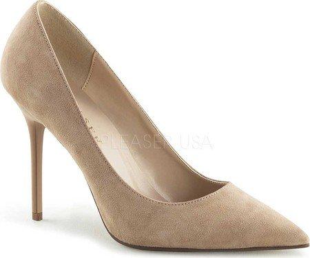 Pleaser  CLASSIQUE-20, Chaussures à talons - Avant du pieds couvert femmes Nude Suede