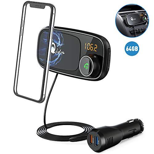 Bluetooth FM Transmitter mit Auto Halterung, QC 3.0 Wireless FM Radio Adapter MP3 Musik Player Unterstützt 64GB TF Karte, Dual USB Bluetooth Zigarettenanzünder Kfz Ladegerät, 1M Kabel, Magnethalter (Transmitter Wireless Fm Audio)