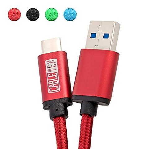 USB C Kabel auf USB 3.0 Typ A 1M Ladekabel Nylon Textilkabel Datenkabel für USB 3.1 Computer und Smartphones wie Galaxy S8, S8+, OnePlus 2, OP 3, HTC 10, MacBook Pro und viele mehr - ROT