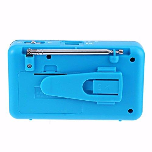 iMinker Mini-Digital-beweglicher FM Radio-Mittel-Lautsprecher MP3-Musik-Spieler TF / SD Karte Usb-Scheiben-Hafen für PC iPod-Telefon mit LED-Anzeige und Akku (Blau) - 6
