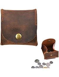 Juland Cuero rustico Estuche de monedas Moon Pocket piel genuina Bolsa de monedero Titular de cambio