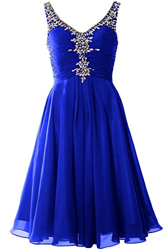MACloth Women V Neck Crystal Short Homcoming Dress Cocktail Party Evening Gown Royal Blue