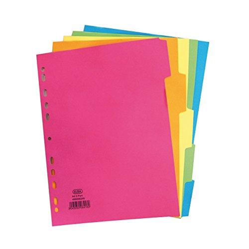 Elba Register Din A4, 5 Teile, hell, bunt, Farbe, 50 Stück