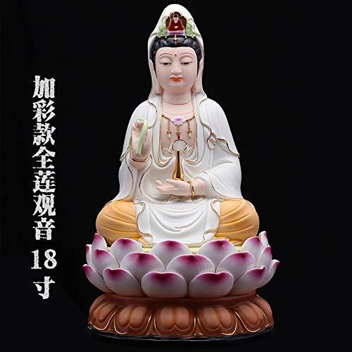 Buddha Statue Für Glück, Reichtum Und Glück, Handgemachte Chinesische Porzellan Sitzen Auf Lotus Guanyin Figurine Für Zen Meditation, Big White Bunte Kwan Yin Für Auto Home Schreibtisch Einricht