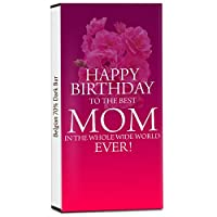 Chocholik Birthday Day Gift – Birthday and Love Wishes to My Dearest Mom 70% Dark Belgium Chocolate Bar - 100gm (3.5Oz)