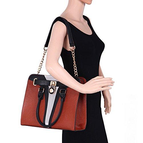LeahWard® Damen Umhängetasche Handtaschen Große Schultertasche Für Sie Schwarz/TAN/Grau